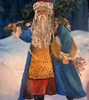 Hand Painted Vintage Santa on wooden palette Holiday Porch Decor !